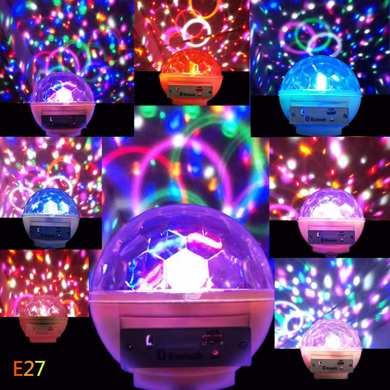 CHICLITS E27 Projector Stage Lamp RGB USB Flash 360 Portable Bluetooth Speaker MP3 KTV Bar Lamps Brithday Party Gift Moon Lamp