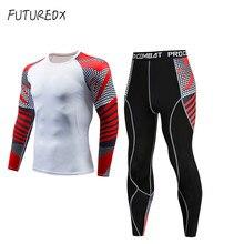 Спортивный комплект для фитнеса, мужской облегающий спортивный костюм с принтом, 15 цветов, комплекты для бега, быстросохнущие колготки, футболка с длинным рукавом и штаны