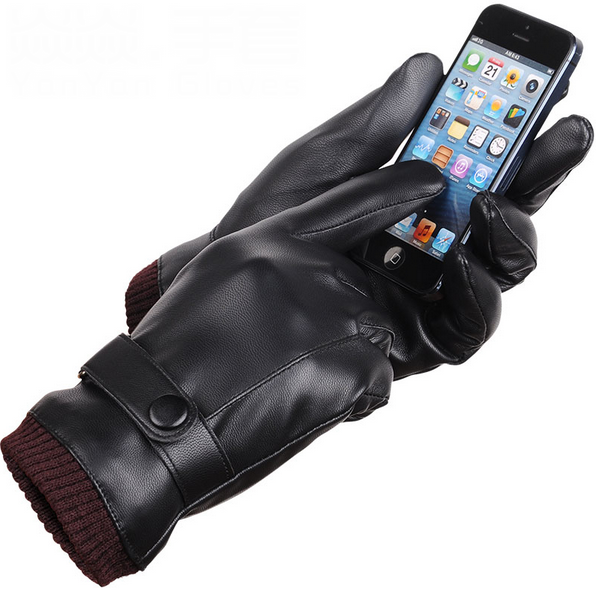 Fashion Men Gloves Touch Screen Gloves Man Driving Leather Gloves Slip-resistant Male Autumn Winter Warm Men's Thick Gloves g486