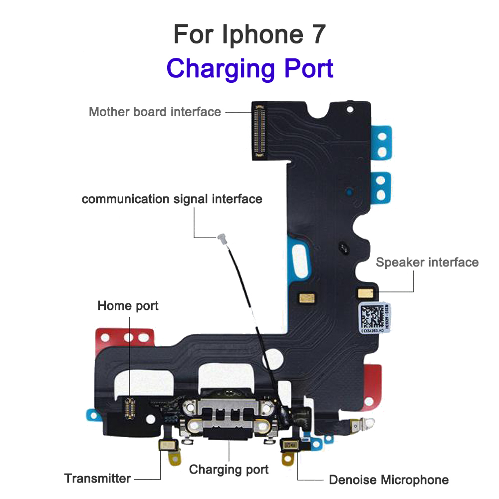 AAA super high quality Charger USB Dock Connector Port For iphone 7 plus charging Flex Cable Ribbon Plug Repair Part For iphone7