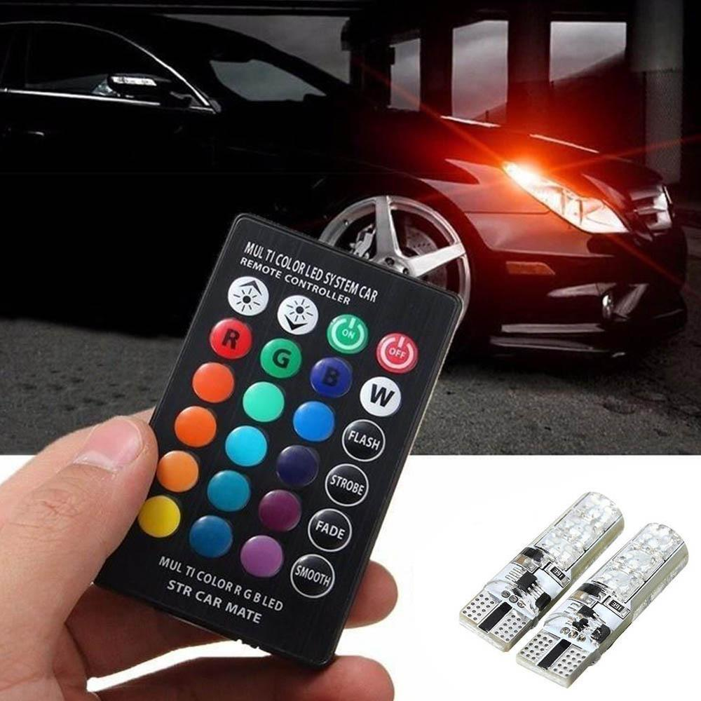 Car Light 2 X T10 5050 Silicone 6 SMD Remote Control RGB LED Car Dome Reading Light Lamp Romantic Decorative Light