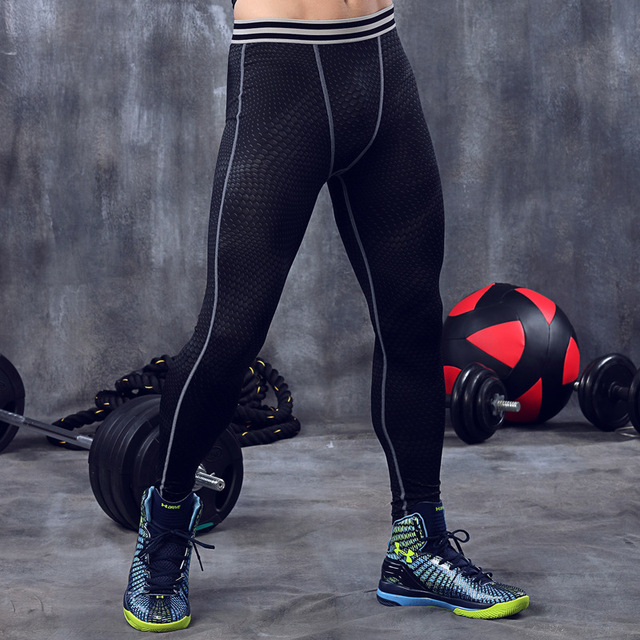 f1ff2ac674d50 Men training clothes gym compression Tight pants Polyester Athletic Outdoor  Running sportsman wear for men size M L XL