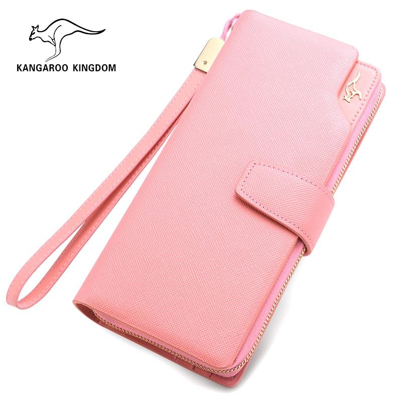 KANGAROO KINGDOM luxury fashion split leather women wallets high quality lady clutch purse card holder wallet
