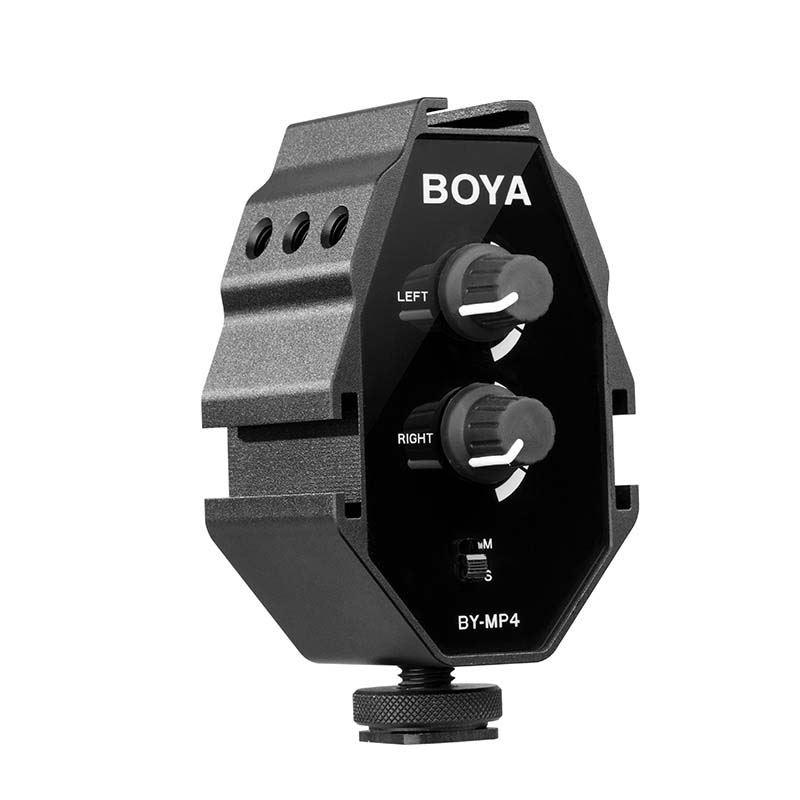 Boya By-Mp4 2-Channel Audio Adapter With Mono And Stereo Switch Dual Mic Mounting For Iphone 8 Canon Nikon_ Dslr Camera CamcorBoya By-Mp4 2-Channel Audio Adapter With Mono And Stereo Switch Dual Mic Mounting For Iphone 8 Canon Nikon_ Dslr Camera Camcor