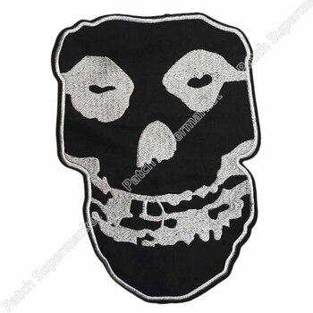 """10 """"grandes inadaptados plata carmesí cráneo música Banda parche para mc motociclista chaqueta de la motocicleta de apliques bordado hierro en Punk Rock"""