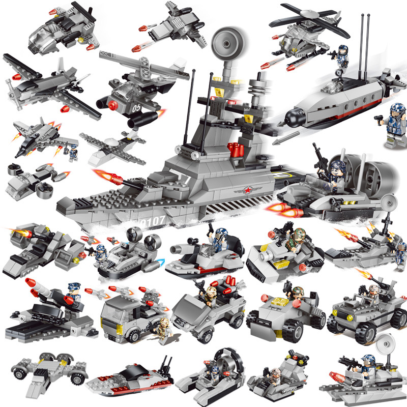 8 IN 1 Military Series Warship Model 3D Compatible Legoed DIY Assembly building blocks Destroyer Fighter Jigsaw Kids toys gift lepin 22001 pirate ship imperial warships model building block briks toys gift 1717pcs compatible legoed 10210