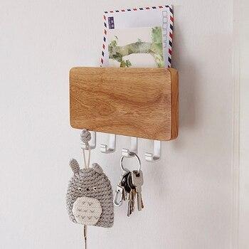Â�ーホルダー、装飾木製キーホルダーラックハンガーを搭載した 4 Ã�ック、複数便とキーのためのドア