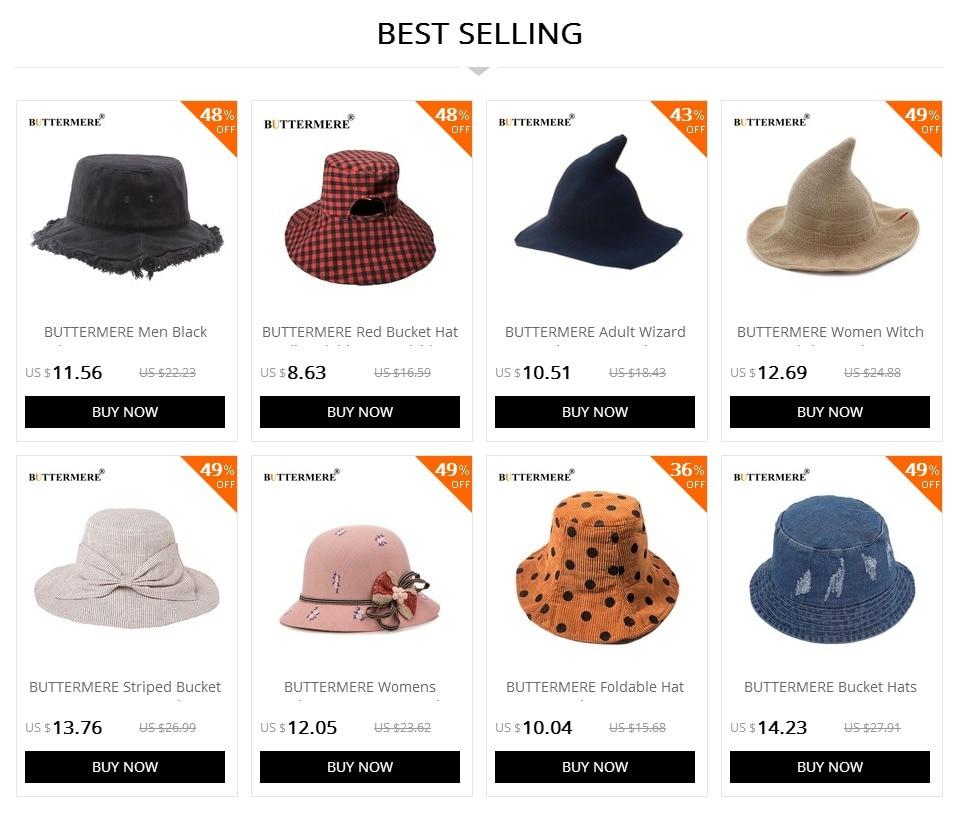 BUTTERMERE Men Bucket Hats Denim Casual Classic Vintage Fishing Hat ... 7c08c504cda