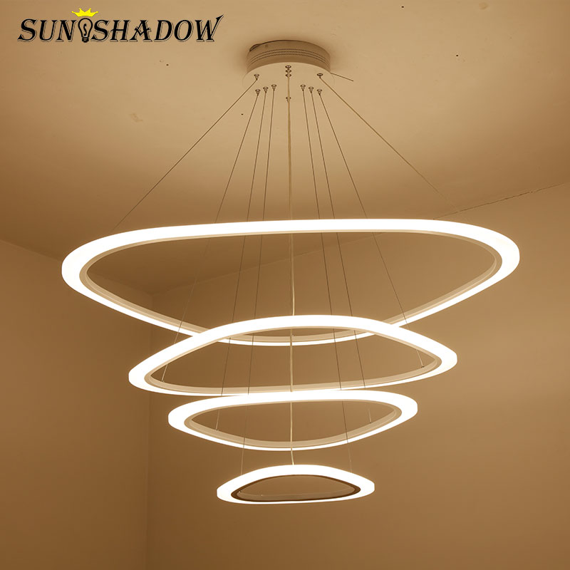 Hang Lamp LED Chandelier For Dining room Living room Acrylic Plafond 4 3 2 Rings Led