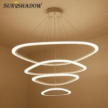 Hang Lamp LED Chandelier For Dining room Living Acrylic Plafond 4/3/2 Rings Led Lighting Lampara de techos