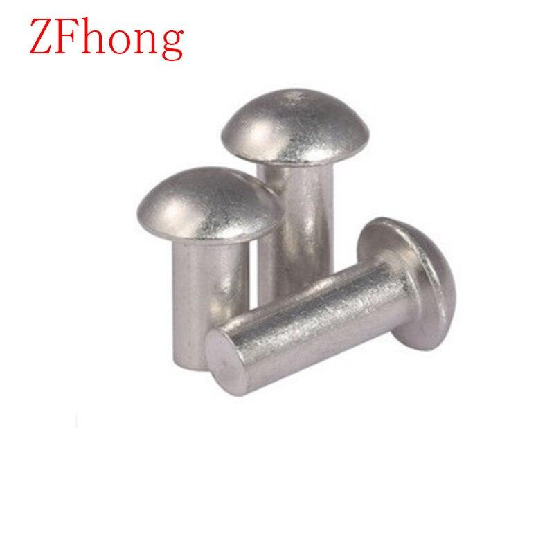 US $8 49 15% OFF|100PCS/Lot M6*10/12/16/20/25 Pan Head Aluminum Solid  Rivet(Half Round Head Aluminum Blind Rivet-in Rivets from Home Improvement  on