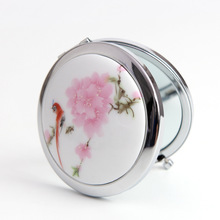 1 PC Hand-painted Chinese Painting Ceramics Folding Cosmetic Makeup Compact Mirror 3D Stereo Double Sided Free Shipping
