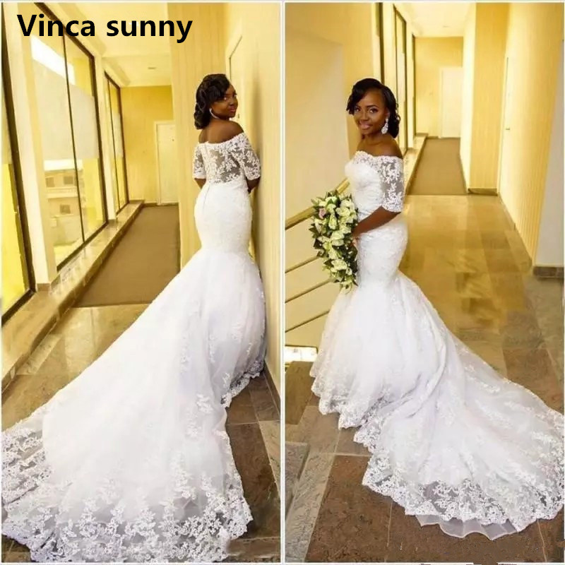 Mermaid Wedding Dresses 2019 Off Shoulder Half Sleeves White Lace Appliques Wedding Gowns Bridal Dresses Vestido