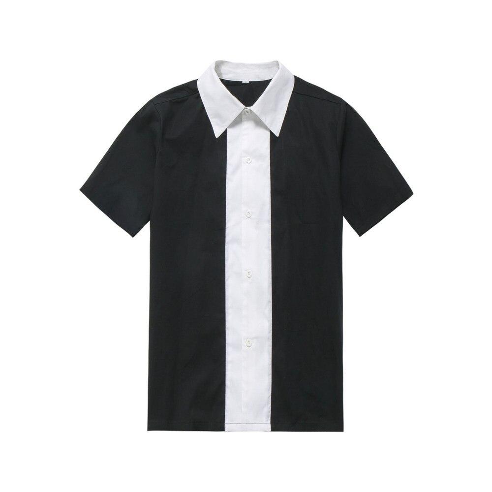 Plus Size Button Up Shirts Men Cotton 1950s 60s Rockabilly Mens