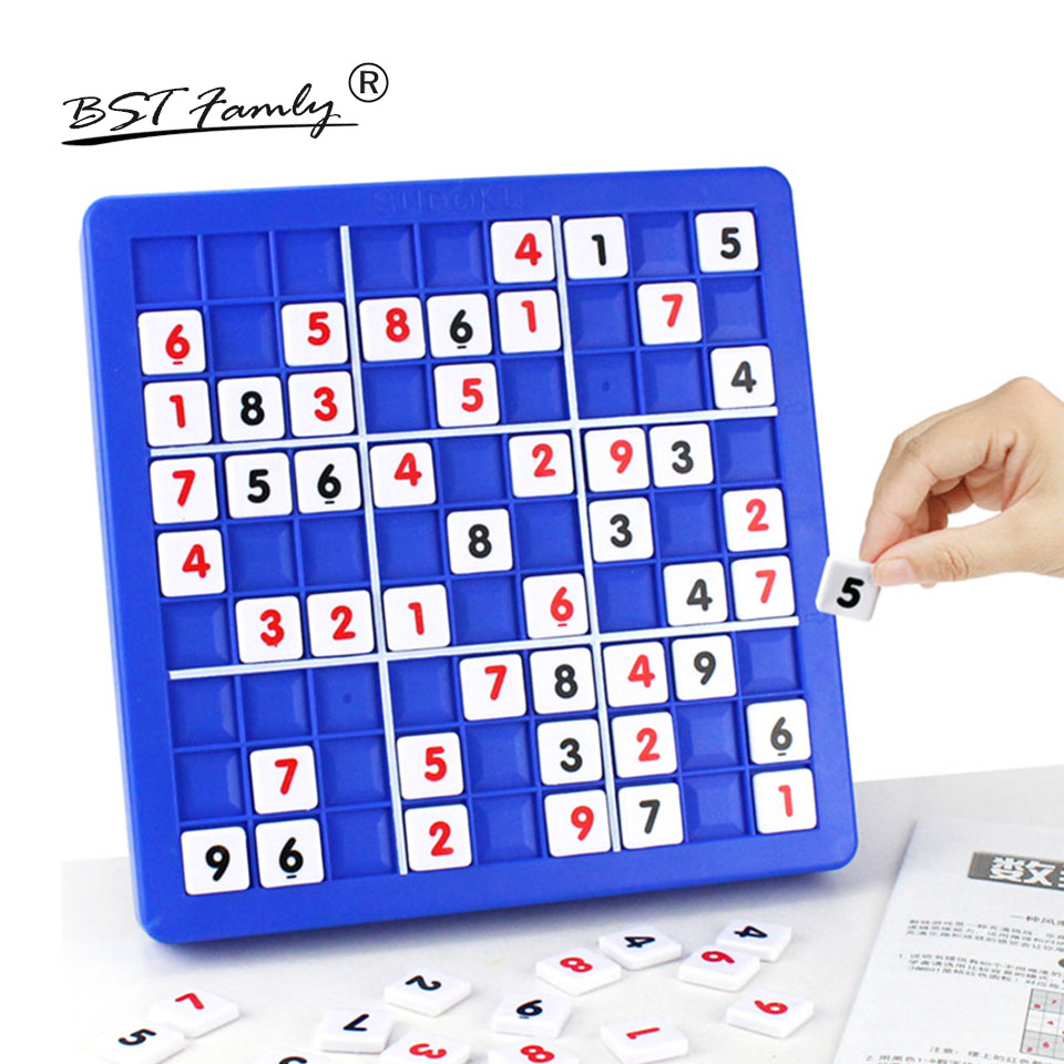 BSTFAMLY Children Sudoku Chess Friendly Plastic with Drawer 24*24*5cm 81Pcs/Set Table Puzzle Game Kids Toy Interesting Gift S02