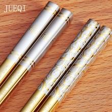 Jue Ци 10 пар 304 Нержавеющаясталь китайские палочки для еды Нескользящая многоразовый металлический набор палочек Еда палочки для суши посуда