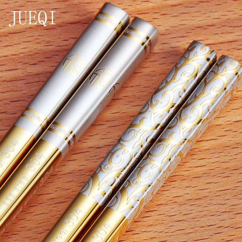 Jue QI 10 Pairs 304 Stainless Steel Chinese Chopsticks Skid-Proof Reusable Metal Chopstick Set Food Sticks For Sushi Tableware image