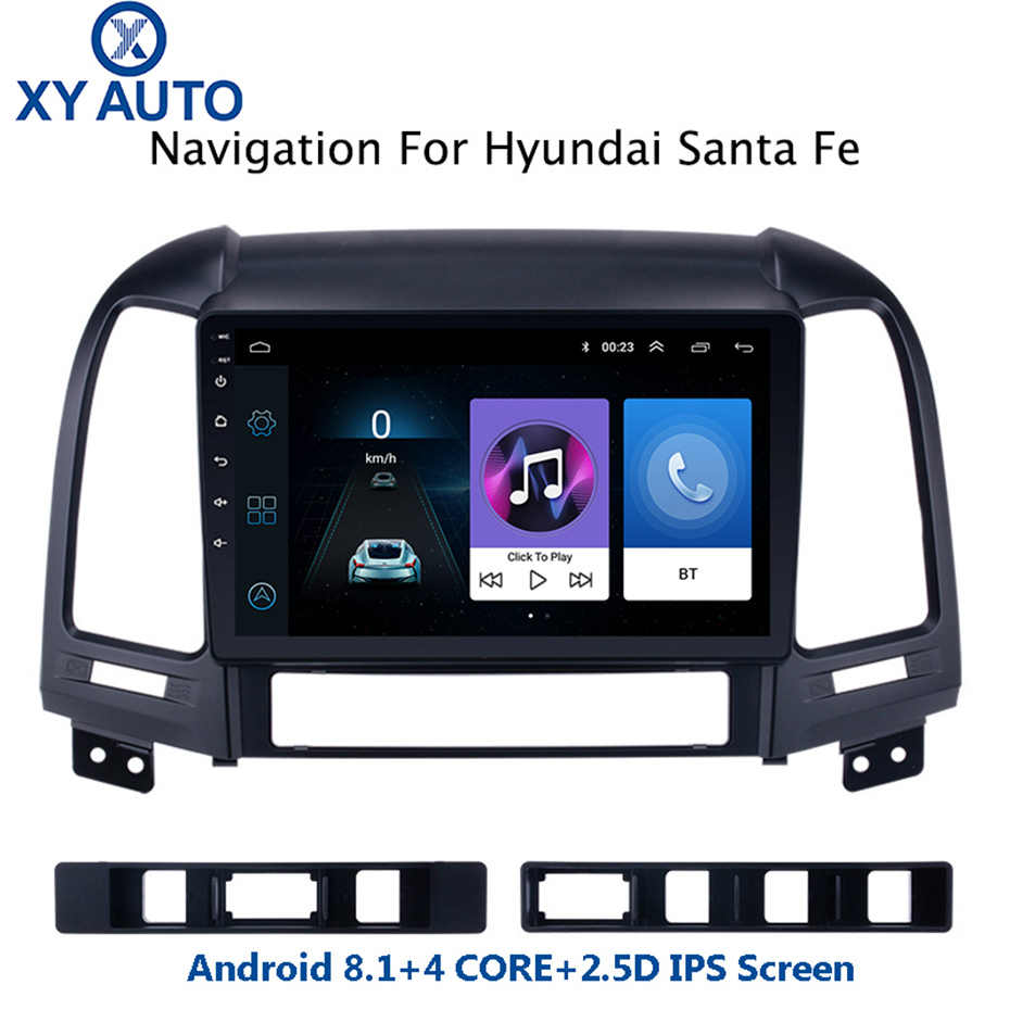9 inch 2.5D IPS Gehard HD multi-touch screen Android8.1 NAVI voor Hyundai Santa Fe 2005-2012 met bluetooth USB WIFI SWC