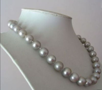 AAA 10-11MM South Sea GRAY PEARL NECKLACE 18 > jewerly free shipping
