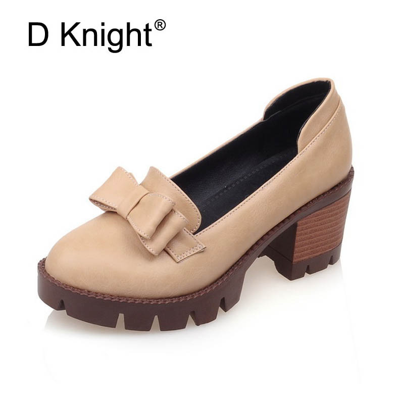 New Fashion Bow Shallow Mouth Slip-on Women Square Heel Pumps Vintage Platform Middle Height 6.5cm High Heels Women Casual Shoes cicime women s heels thin heel spikes heels solid slip on wedding fashion leisure casual party dressing high heel platform pumps