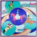 Suculenta 2017 Nova mulheres lady lenços de impressão quadrado redondo cavalo dos desenhos animados homem competição 90*90 sarja de seda tamanho grande lenços