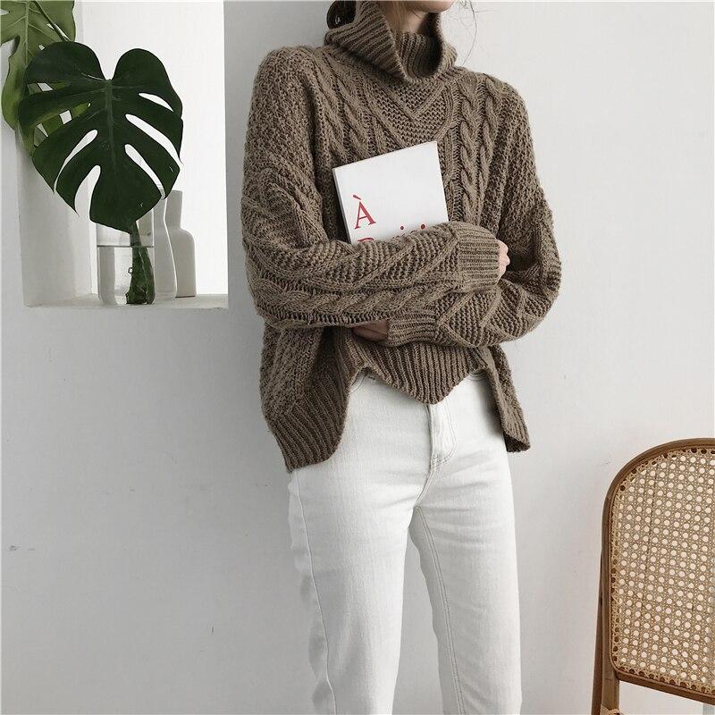 Rugod moda cuello alto de Cachemira suéter manga larga mujeres calientes Suéteres y Jerséis invierno casual solid pull femme