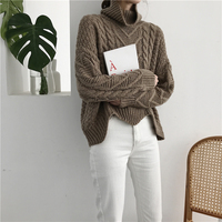 RUGOD Fashion Turtleneck Cashmere Sweater Long Sleeve Warm Women Sweaters And Pullovers Winter Casual Solid Pull Femme