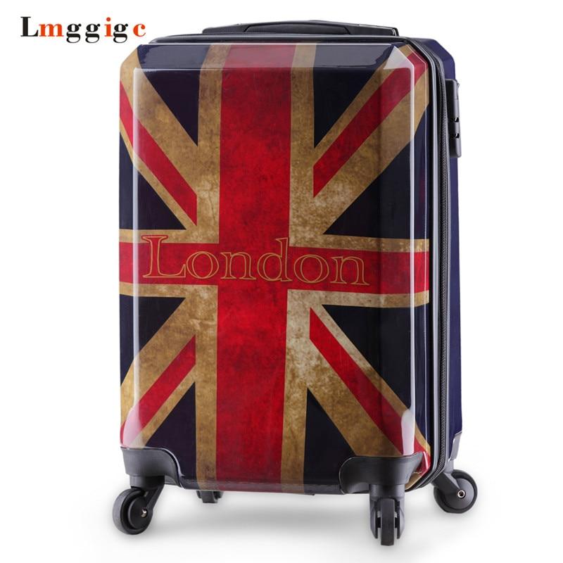 Women Vintage Luggage bag,Men Personality Suitcase,Rolling Travel Box,Fashion Universal Wheel ABS+PC Trolley Case