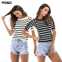 PGSD New Simple Fashion Women Clothes Summer casual short-sleeve striped cross-hollowed thin round-necked knitted T-shirt female