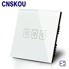 Free Shipping SANKOU UK Touch Switch Wall 3G2W Luxury Black Crystal Glass Sensitive +LED Switches Smart Home