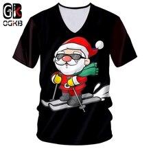 OGKB Man Christmas Trend Tshirt 3D Printed Ski And Sunglasses