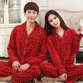 Alta calidad de la marca de los amantes pijamas de manga larga hombres ropa de dormir par de algodón trajes rojo festivo solapa pijamas mujeres mujer