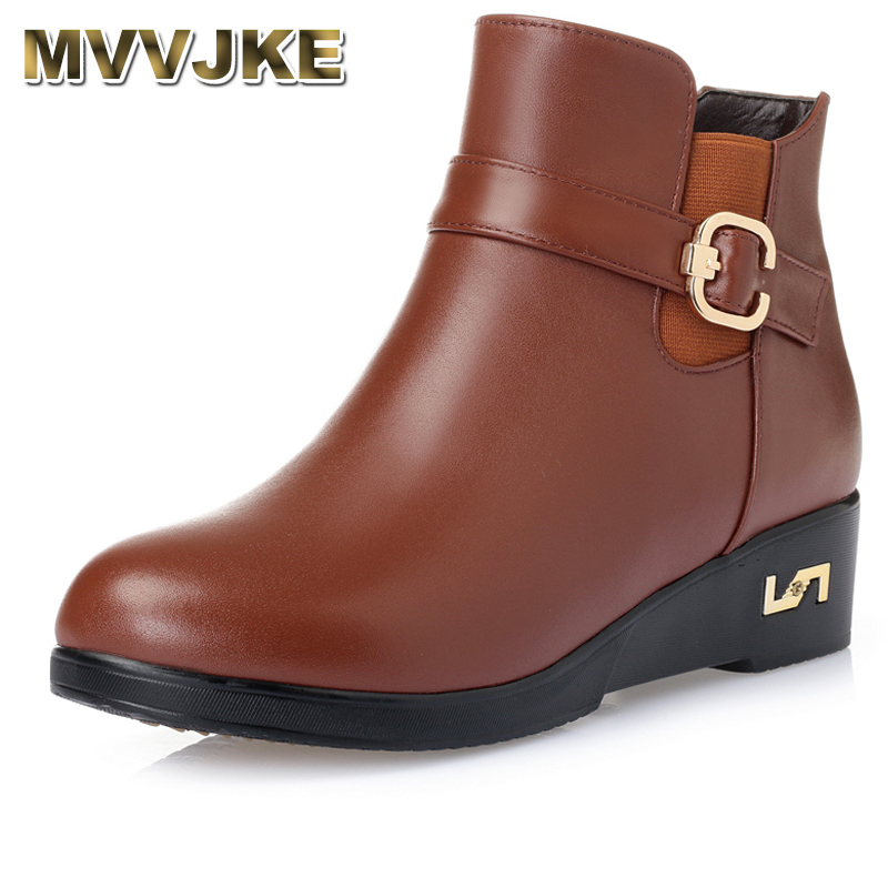 MVVJKE Women Winter Shoes Women Genuine Leather Warm Wool Boots Brand Women Shoes High Quality Ankle Boots With Platform Big