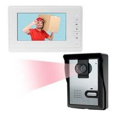 """Nueva marca de 7 """"color con cable de teléfono video de la puerta sistema de intercomunicación 1 monitor + 1 IR cámara de visión nocturna timbre para el hogar Libre gratis"""