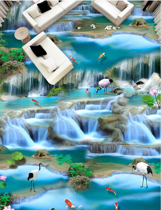 3d flooring Waterfalls Waterfalls carp 3D flooring wallpaper for bathroom waterproof 3d floor painting wallpaper free shipping 3d carp lotus pond lotus flooring painting tea house study self adhesive floor wallpaper mural