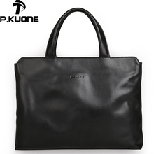 P.Kuone Genuine Leather commercial male handbag Men Shoulder Bag Business Men Tote 100% First Layer Leather Computer Briefcase