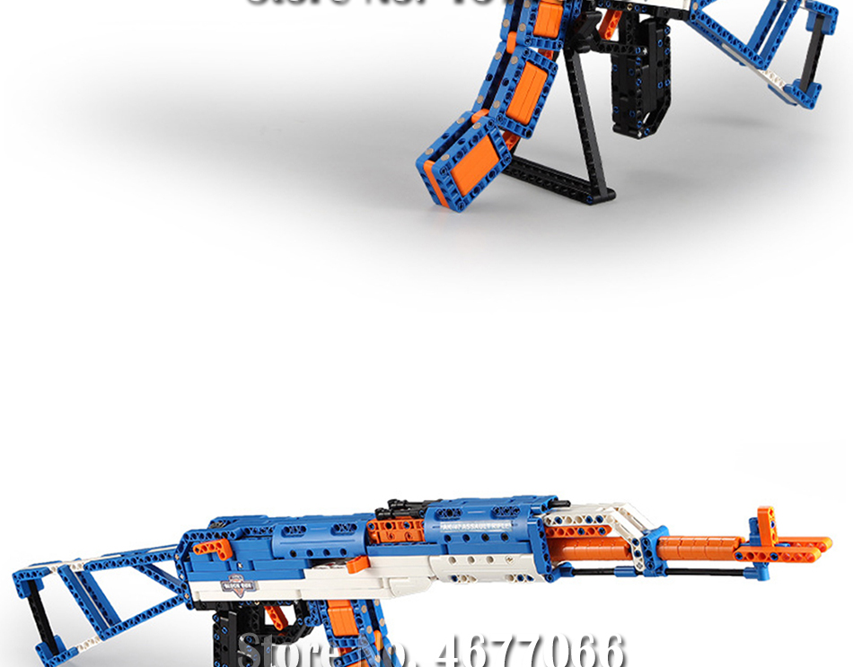cada technic building blocks AK-47  gun  military legou toy bricks weapon set can fire  rubber band  toys for children boys kids 20