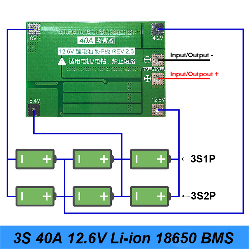 3S 40A For Screwdriver 12V Li-Ion 18650 Bms Pcm Battery Protection Board Bms Pcm With Balance Liion Battery Cell Pack Module image