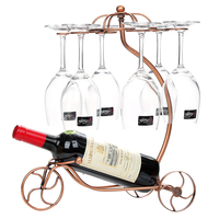 2018 New Iron Chariot Wine Non folding Rack Wine Cup Hanging Holder Storage Shelf Home Furnishing Ornaments