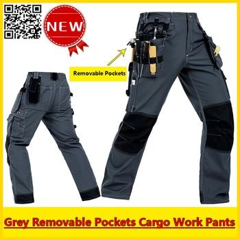 Bauskydd Mens Durable Mechanic workwear multi-pocket grey work trousers grey working pant free shipping