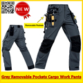 Mens Durable Mechanic workwear multi-pocket grey work trousers grey working pant free shipping