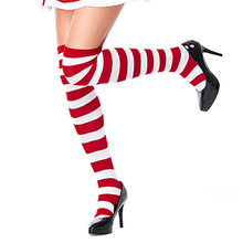 Christmas red and white long stockings over the knee socks COSPLAY anime wide striped ladies socks недорого