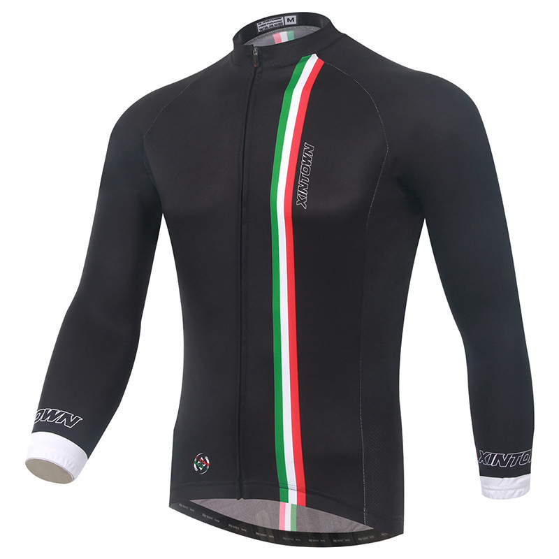 XINTOWN 100% Polyester Mens Cycling Jersey Long Sleeve Ropa Ciclismo Bicycle Clothing Quick Dry Riding Clothes Spring Shirts