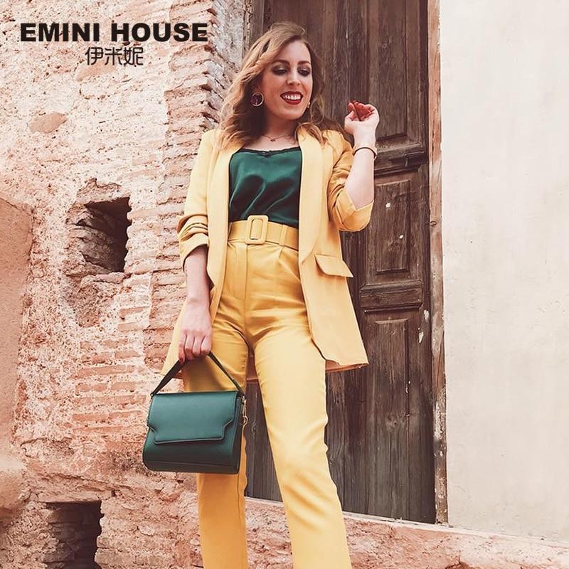 EMINI HOUSE Split Leather Shoulder Crossbody Bags For Women 2018 Solid Color Retro Wide Strap Women