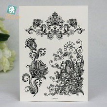 LS633/ Temporary Tattoo, Black Lace Henna Body Paints,Long Lasting Body Tatoo for Girls Women