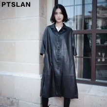 Ptslan 2017 New Europe Fashion Women Long Real Leather Jackets  Ladies Casual Elegant Clothing Solid Color  Coat