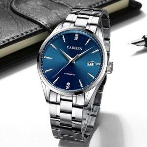 Image 2 - Часы наручные CADISEN Мужские механические, брендовые роскошные стальные автоматические деловые водонепроницаемые