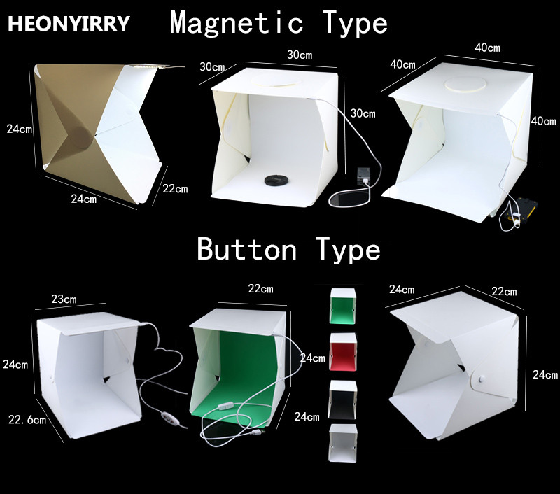 Portátil plegable estudio caja suave con luz LED negro fondo blanco de la fotografía Photo Studio Box