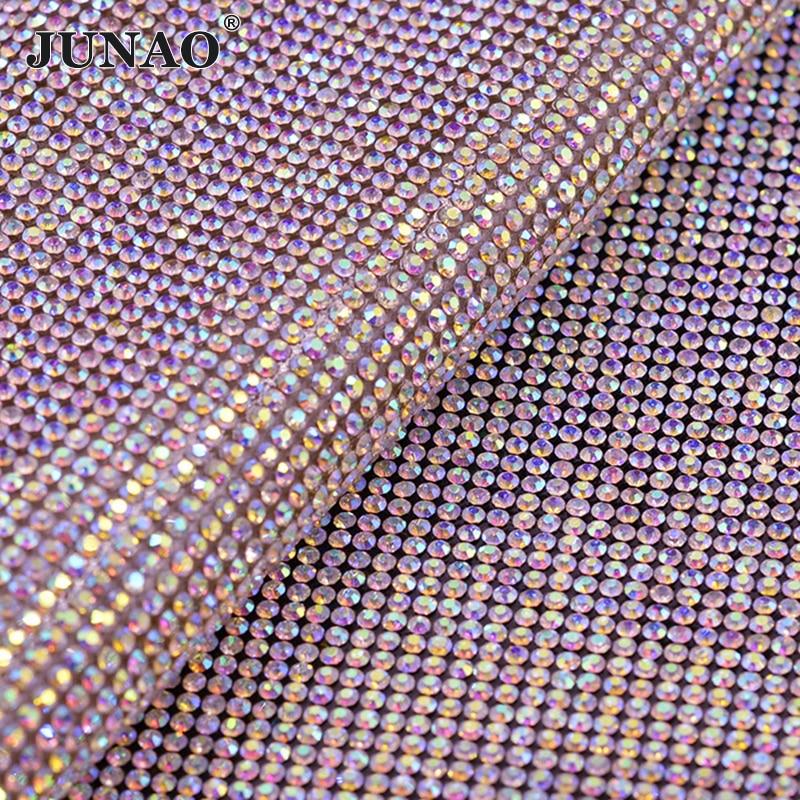 JUNAO 24 * 40 cm Hotfix Crystal AB Rhinestones Tejido Ajuste de malla - Artes, artesanía y costura