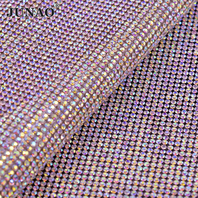 JUNAO 24 40cm Hotfix Crystal AB Rhinestones Fabric Trim Glass Mesh Crystal  Beads Appliques Banding 78fd9e99a593